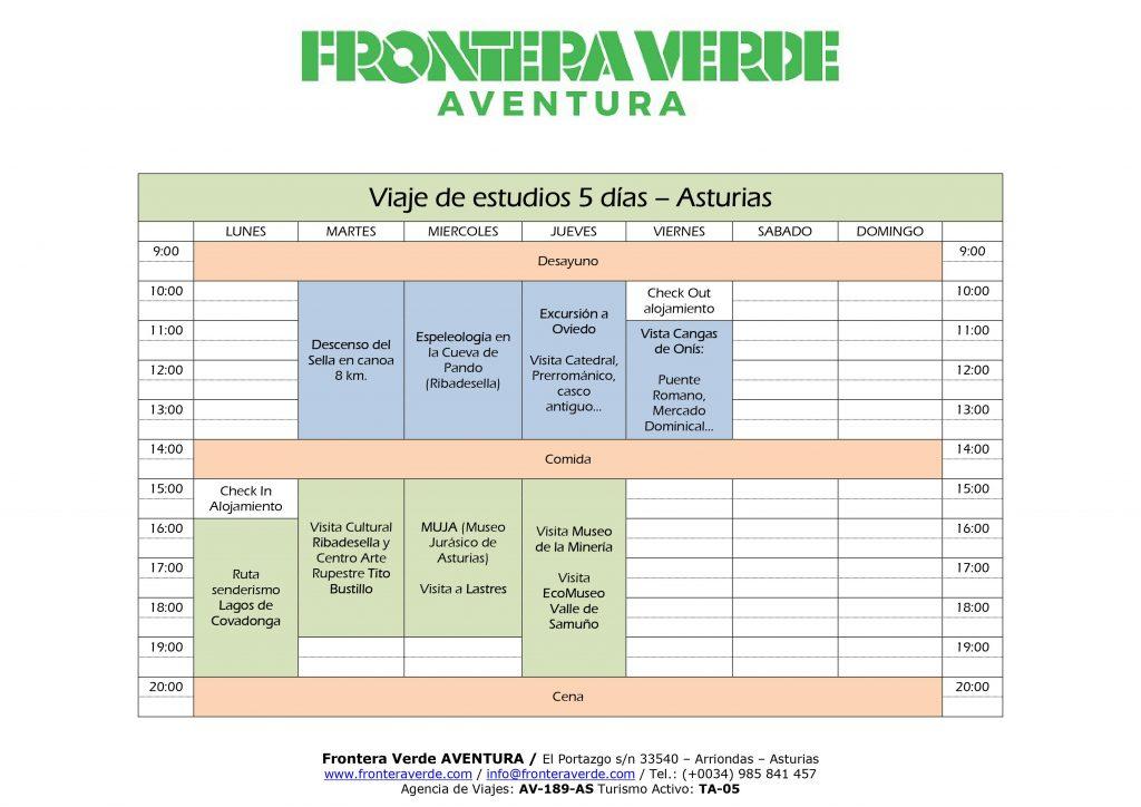 Programa Multi Aventura y Cultural viaje de estudios a Asturias