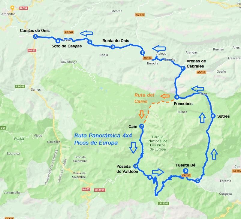 Ruta Del Cares Mapa.La Ruta Del Cares Traslados Y Excursiones 4 4 Frontera