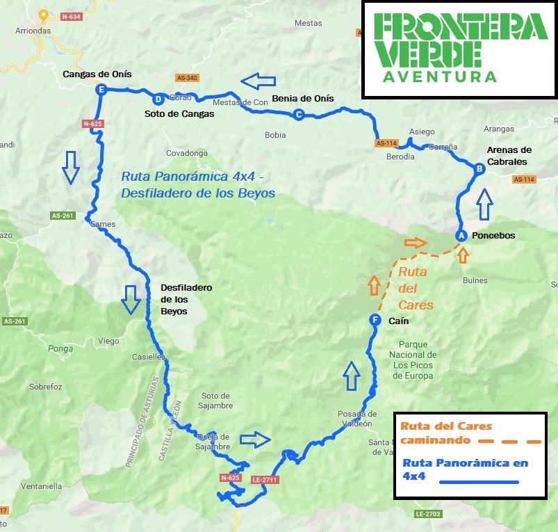 Mapa Ruta Del Cares.La Ruta Del Cares Traslados Y Excursiones 4 4 Frontera
