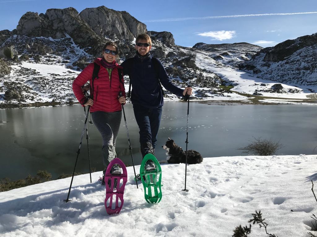 Excursión de raquetas de nieve por los lagos de Covadonga, Picos de Europa